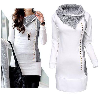 Kleid Jumper Top (Damen Rollkragen Pulloverkleid Sweatshirt Jumper Longtop Pullikleid Minikleid DE)