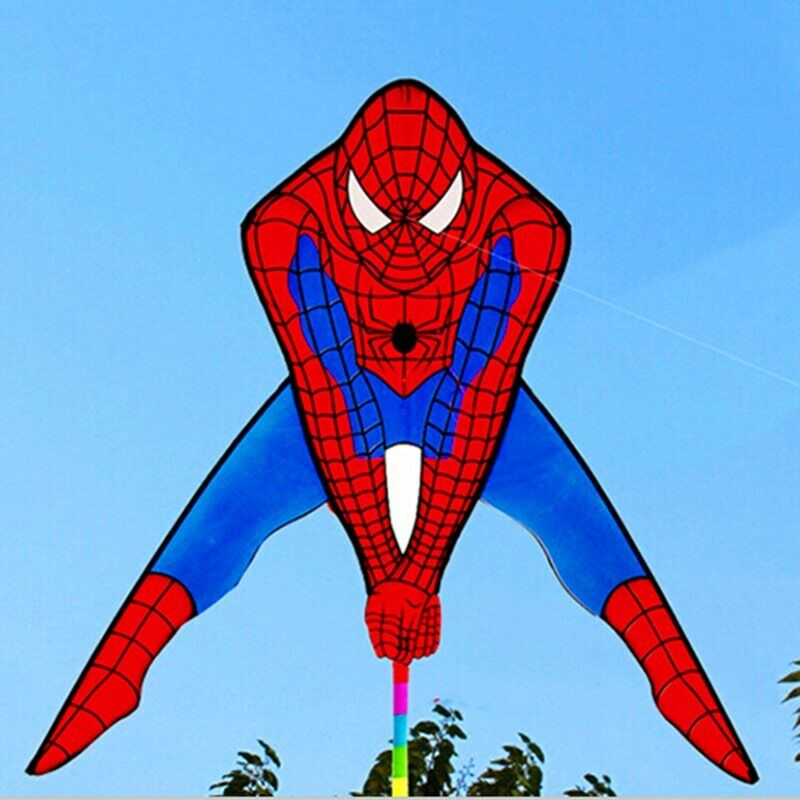 spiderman kite with handle line outdoor flying