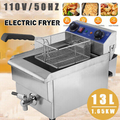 13l Electric Deep Fryer Drain Timer Stainless Steel Home Commercial 1650w Us Top
