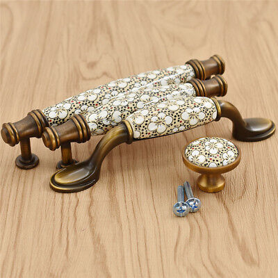 1x Antique Bronze Cabinet Drawer Pull Knob Flower Cupboard Handle Home Accessory ()