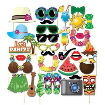 32PCS Hawaiian Beach Summer Holiday Photography Photo Selfie Booth Props Party F