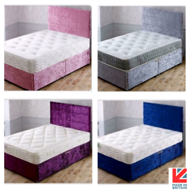 🇬🇧💯 BUY DIRECT BEDS. NEW CRUSHED VELVET. BABY PINK, SILVER , BLACK