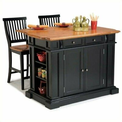 Bowery Hill Kitchen Island and Stools in Black and Distressed Oak for sale  Sterling