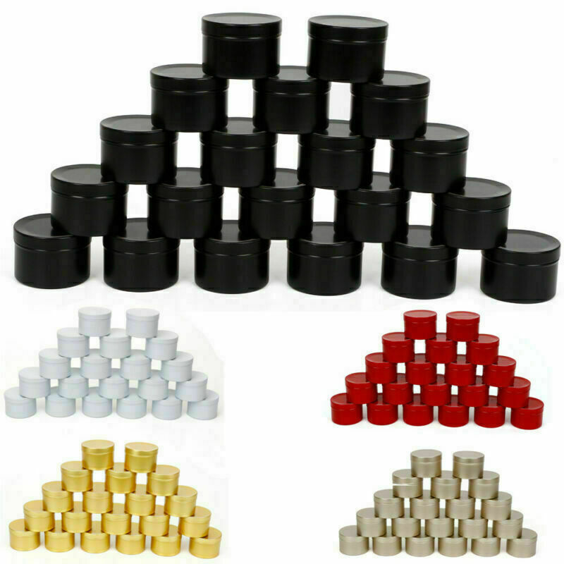 20pc 50ml Metal Candle Tins Aluminium Candle Empty Jar for DIY Candle Making New