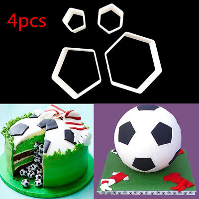 4pcs/set Football Cookie Cutter Soccer Shape Fondant Cake Decor Sugarcraft Mould