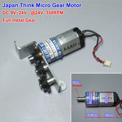 Japan Think Micro Gear Motor Dc 12v-24v 350rpm Full Metal Gearbox Reduction Diy