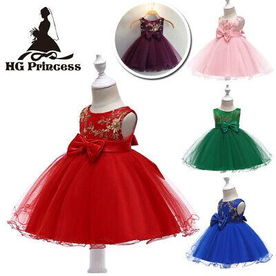 Flower Girl Gold Embroidered Dress Baby Girls Princess Party Tutu Dresses ZG - Gold Girls Dresses