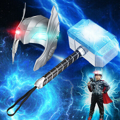 Cosplay LED Helmet Glowing Sounds Hammer For Thor Action Figures Kids Toys Gift](Thor Kids Hammer)