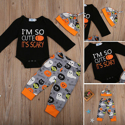 Halloween Newborn Baby Boys Outfit Clothes Romper Jumpsuit Bodysuit Pants Hat - Newborn Halloween Outfit