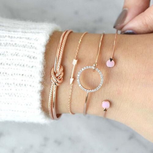 4Pcs Set  Damen Armband Armreif Set Armkette Kristall Strass Schmuck Geschenk DE