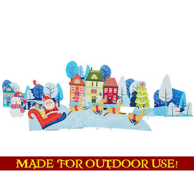 CHRISTMAS VILLAGE Set of Plastic Outdoor YARD SIGNS Standees Standups Holidays](Christmas Yard Signs)