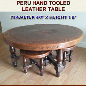 UNIQUE HAND TOOLED LEATHER 5-PIECE COFFEE TABLE SET