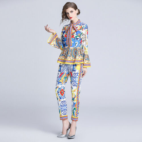 Womens Suits Blazers Shirts Tops Pants 2 Piece Bell Sleeves Formal Occident 2019