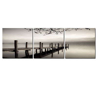 Canvas Art Print Painting Pictures Photo Landscape Bridge Lake Posters Gray Grey