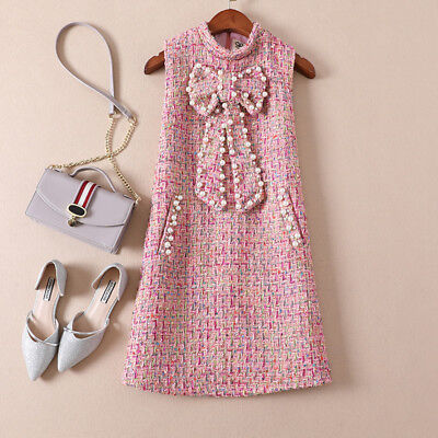(Portrait Tweed Bow Tie Pearls Mini Occident Vest Party Dress Free Self Delivery)