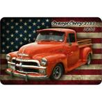 Metalen Wandbord - Orange Chevy Truck 1955 (20x30 cm)