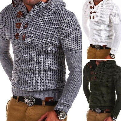2018 New Fashion Slim Long Sleeve V-neck Knit Cardigan Men's sweaters coat GW ()