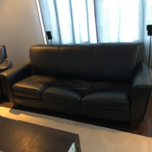 Black Natuzzi Leather Sofa and Love Seat - Gently Used
