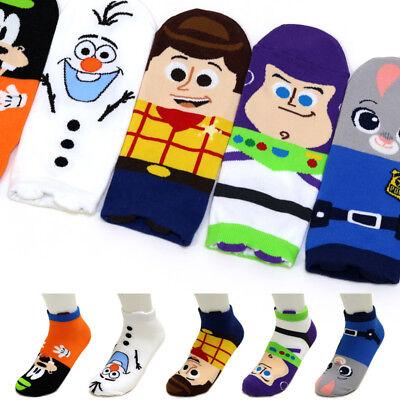 5 Pairs Disney Animation Character Socks Women Girls Big Kids Cute Cartoon Socks