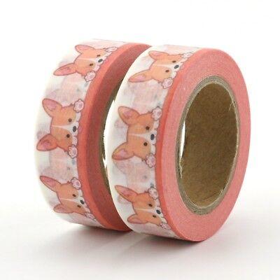 Washi Tape Wholesale (2PCS HOT Print Decor Japanese Washi Tape Mask Cute Corgi Dog Stationery)