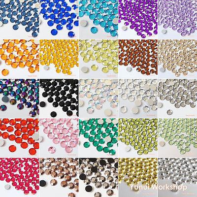 200pcs (2mm - 20mm) 30 Colors & AB Acrylic Flat Back Rhinestones Scrapbook Nail