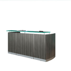 Modern Reception Desk with glass counter top * 2 Modern colors