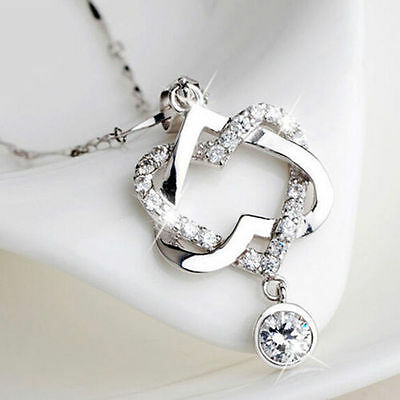 Fashion 925 Silver Plated Women Double Heart Pendant Necklace Chain Jewelry HOT