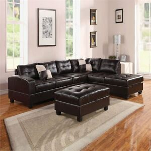 Fine Acme Kiva Sectional Sofa With Two Pillows With Black Bonded Leather Match 51195 Frankydiablos Diy Chair Ideas Frankydiabloscom