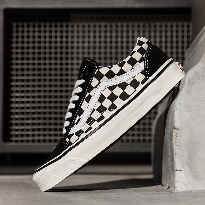 Vans1 Old Skool Primary Check Classic Black/White Low Suede Canvas Skate Shoes