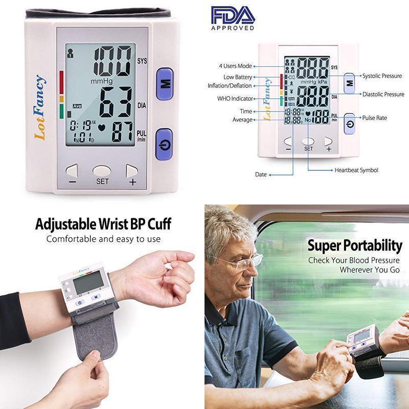 Wrist Blood Pressure Cuff Monitor by LotFancy, Digital Sphyg
