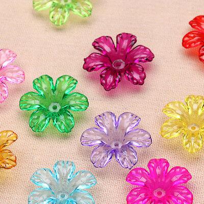 20pcs/lot Six Petals Flower Petal  Acrylic Making  Beads Jewelry 30mm (Six Petals Flower Beads)