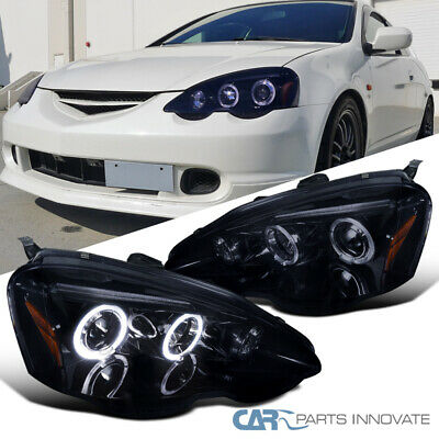 Glossy Black For 02-04 Acura RSX DC5 Smoke Lens Halo Projector Headlights Lamps 04 Acura Rsx Halo Projector