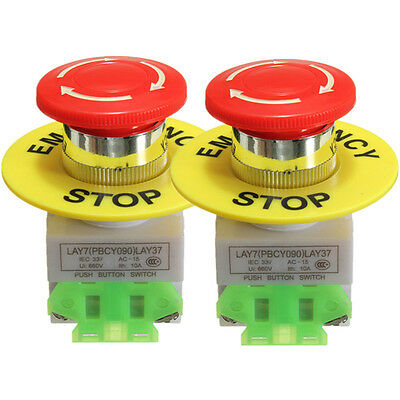 2 Pcs x Red Mushroom Emergency Stop Push Button Switch NO + NC 22mm CNC Gecko
