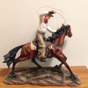"""14"""" tall cow boy on horse statue - MINT condition!"""
