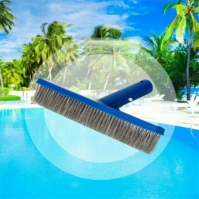 "Pool Brush 10"" Cleaning Brush Head Swimming Pool Wall Brush Stiff Wire Bristles"