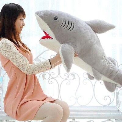 Cute Big Shark Soft Toy Stuffed Cushion Large Animal Plush Doll Pillow Kids 70cm