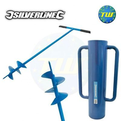 Silverline Steel Fence Post Driver Rammer & Hole Auger Digger Tool 749248 868696