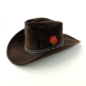 Mens 6 3 4 Bailey U Rollit Hat Brown Suede Leather Red Feather 0cb5a413125