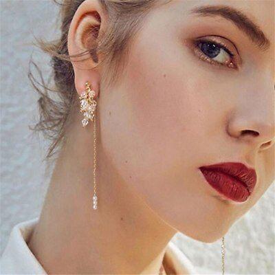 Korean Crystal Earrings For Women Long Glass Beads Pearl Tassel Drop Earrings