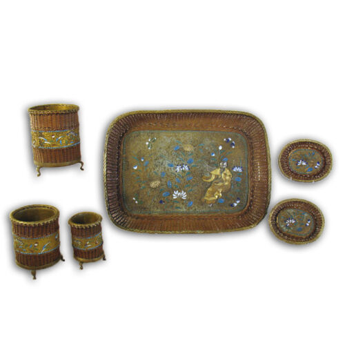 Asian Mixed Metals Enameled Tray and Accessories - 1890