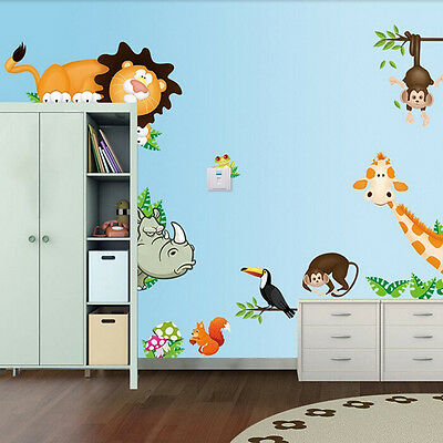 Wild Animal Mural Vinyl Wall Decals Sticker Kids Baby Nursery Room Decor EPNIUS Baby Nursery Wall Decals