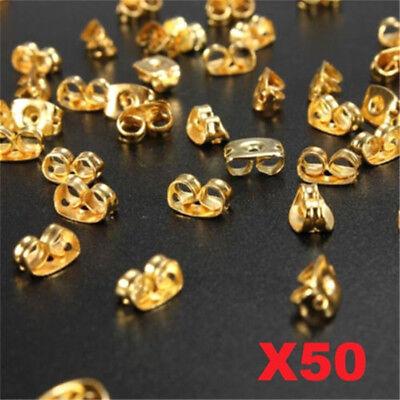 X50 Gold Plated Butterfly Earring Backs Stopper Scrolls Ear Post Nuts Findings