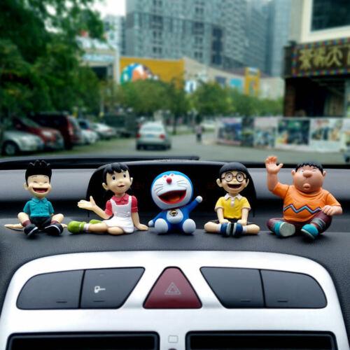 Set of 5Pcs Doraemon Family portrait Figures Kawaii Car Decorations Home Decor