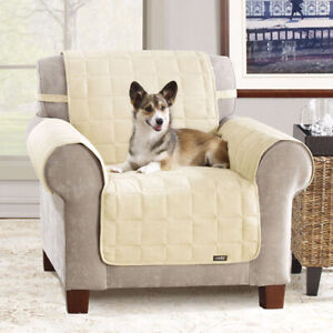 Sure Fit Soft Suede Waterproof Chair Cover Cream, New