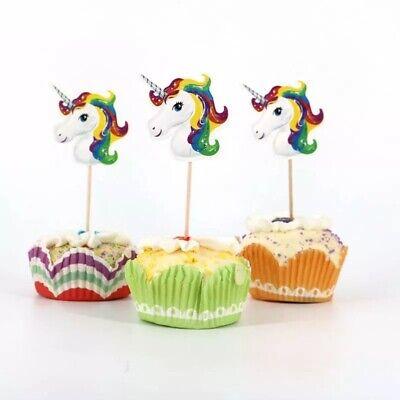 24 Kuchenstecker Topper Einhorn Mädchen Cupcake Geburtstag Muffins Unicorn