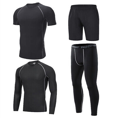 Mens Compression Base Layer Long Sleeve Shirt GYM Shorts Workout Running (Mens Running Shirt)