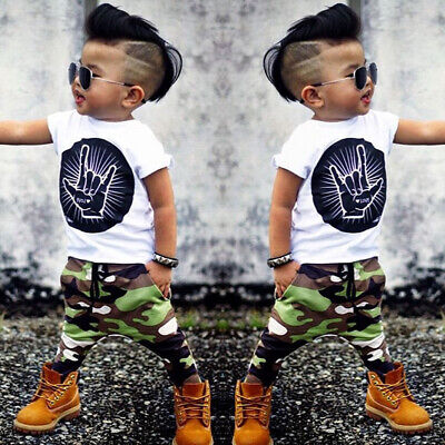 Kids Short Sleeve Baby Boy Summer Clothes Casual Tops T-shirt+Pants 2pcs Outfits