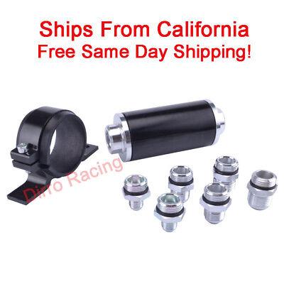 (Fuel Filter 100 Micron High Flow Aluminum Racing AN6 AN8 AN10 Fitting Kit  Black)