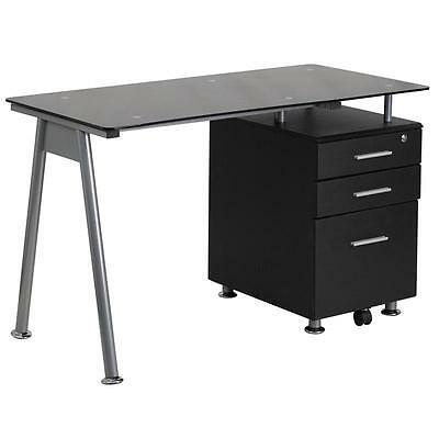 Black Glass Computer Desk With Three Drawer Pedestal