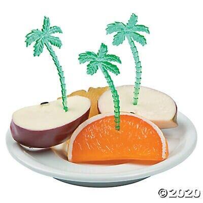 Palm Tree Table Decorations (LUAU ~ 72 Green Palm Tree Plastic Cupcake Food Picks Table Party)